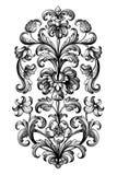 Flower vintage Baroque scroll Victorian frame border floral ornament engraved retro pattern lily peony tattoo filigree vector. Flower vintage scroll Baroque stock illustration