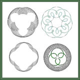 Symmetric abstract  decorative pattern. Symmetrical intricate line art, geometric decorative elements Stock Image
