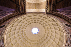 Symmetric ancient Pantheon dome in Rome Italy Stock Photo