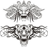 Symmetric animal tattoos. Set of black and white vector illustrations Royalty Free Stock Photography