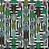 Symmetric begonia leaves seamless vector pattern geometric black Royalty Free Stock Image