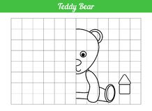 Symmetric coloring book. Repeat on the grid. Teddy bear. Page for children of preschool age. Vector illustration of toys. stock illustration