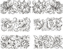 Symmetric elegant floral patterns Royalty Free Stock Photography