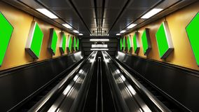 The symmetric escalators with billboards stock image
