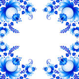 Symmetric floral ornament in Gzhel style. Russian folklore Stock Photos