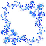Symmetric floral ornament in Gzhel style. Russian folklore Stock Photography