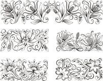 Symmetric floral patterns. Set of horizontal symmetric floral patterns. Vector illustrations Stock Photo