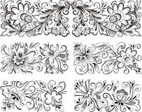 Symmetric floral patterns. Set of horizontal symmetric floral patterns. Vector illustrations Royalty Free Stock Photography