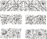 Symmetric flower patterns. Set of horizontal symmetric floral patterns. Vector illustrations Stock Images