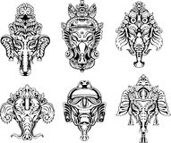 Symmetric Ganesha masks. Set of black and white vector illustrations Stock Photo