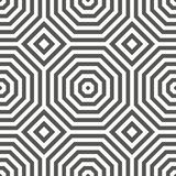 Symmetric geometric pattern with oncentric squares and octagons. Straight shape and rhythm. Alternating regular stripes. Abstract royalty free illustration
