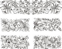 Symmetric horizontal floral patterns Stock Images