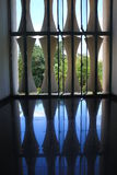 Symmetric indoor view of Reunification Palace stock photography