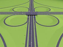 Symmetric intersection highway. Above view. 3d rendering Stock Image