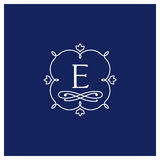 Symmetric monogram. Contains elements sheets, lines, spirals, intersection circle point. In the center of the letter E Stock Image