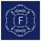 Symmetric monogram. Contains elements sheets, lines, spirals, intersection circle point. In the center of the letter F Royalty Free Stock Photography