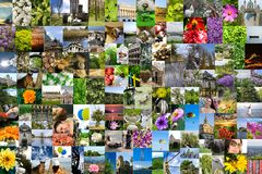 Symmetric mosaic mix collage of 200 photos shot by myself during Europe travels Stock Images