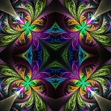 Symmetric multicolored fractal tracery. Collection - frosty patt Royalty Free Stock Photos