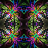 Symmetric Multicolored Fractal Tracery. Collection - Frosty Pattern. On Black. Stock Image