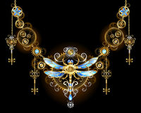 Symmetric ornament with dragonfly stock illustration