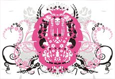 Symmetric ornament with flowers and curls - vector Royalty Free Stock Images