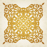 Symmetric ornament pattern in Victorian style on seamless curls background. Royalty Free Stock Photography