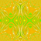 Symmetric ornament yellow orange light green centered. Abstract geometric background. Regular symmetric ornament yellow, orange and light green, centered Royalty Free Stock Image