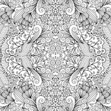Symmetric outline ornamental floral pattern. Symmetric ethnic outline black and white ornamental pattern with flowers and swirls. Vector illustration Stock Photography