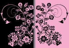 Symmetric pink and black color ornament Stock Photography