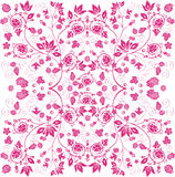Symmetric pink pattern with floral elements Royalty Free Stock Images