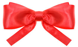 Symmetric red ribbon bow with square cut ends Stock Image