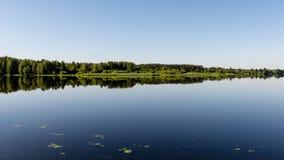 Symmetric reflections on calm lake Royalty Free Stock Image