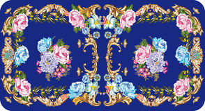 Symmetric rose design on blue. Illustration with rose flower decoration on blue background Royalty Free Stock Image