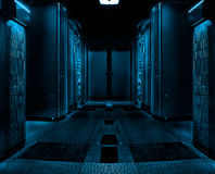 Symmetric server room with rows of mainframes in modern data center, futuristic dark design. Server rack cluster in a data center shallow DOF color toned image stock image