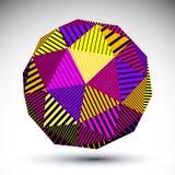 Symmetric spherical 3D vector technology illustration. Bright symmetric spherical 3D vector technology illustration, colorful perspective geometric striped orb Stock Photos