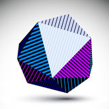 Symmetric spherical 3D vector technology illustration,. Futuristic geometric triangular striped orb, bright cybernetic abstract backdrop Royalty Free Stock Photos