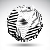 Symmetric spherical 3D vector technology illustration, perspecti. Ve geometric striped orb, abstract black and white background Stock Image