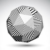 Symmetric spherical 3D vector technology illustration, perspecti. Ve geometric striped orb, monochrome futuristic template with parallel lines Royalty Free Stock Photography