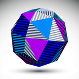 Symmetric spherical 3D vector technology illustration. Perspective geometric striped orb, abstract colorful background Stock Images
