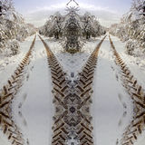 Symmetric tractor imprints  on a country road in snow Royalty Free Stock Images