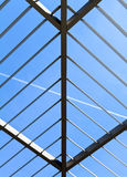 Symmetric (triangle) roof made of steel. With lights and shadows Stock Photo
