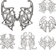 Symmetric tribal knot tattoos Stock Images