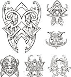 Symmetric tribal knot tattoos. Set of vector illustrations Stock Image