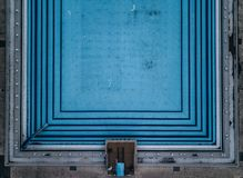 Symmetric view of a swimming pool shot from above stock image