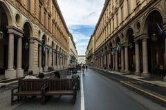 Via Roma, in Turin, Italy. stock image