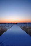 Symmetric winter sunset Stock Photo