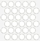 Symmetrical abstract background. White hexagons with grey shadows, white circles on light grey Stock Images