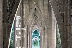 Symmetrical arched bridge piers Royalty Free Stock Photo