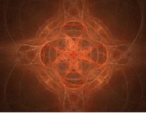 Symmetrical Background. Illustration of a symmetrical background image in orange and earth tones, star shaped Stock Photo