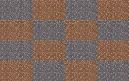 Symmetrical background texture chessboard. Grunge background gray brown block mosaic stone. Pattern Royalty Free Stock Image